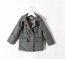 Wholesale Boy Winter Wool Coat - 2015 Solid Color Long Sleeve Woolen Children Clothing Girls Boys Cardigan Jackets Tops Coat Kids Clothes Coats Jacket Top D5369