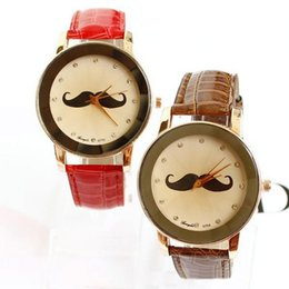 Wholesale Leather Moustache Watch - Hot! Fashion Style Women Girl Faux Leather Personality Moustache Analog Beard Quartz Dial Watch Vintage Free Shipping # L05459