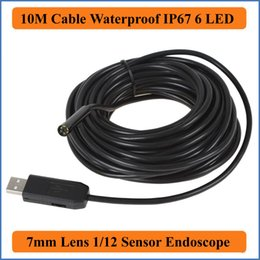 Wholesale Video Inspection Camera Cable - 10M Cable 7mm Focus Camera Lens USB Waterproof 6 LEDs Nght Vision 1 12 CMOS Mini Video Endoscope Inspection Pipe Camera Snake Industrial