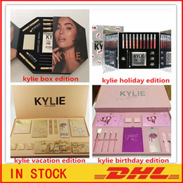 Wholesale Gift Boxes Birthday - Newest Kylie Lip Kit by kylie jenner Velvetine Liquid Matte 12 Days Vault Makeup Holiday Big Box I WANT IT ALL The Birthday Collection Gift