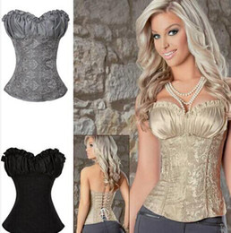 Wholesale Women S Embroidered Corsets - Hot Sale Plus Size Sleepwear Sexy Women Corset Lace Tops Bustier Satin Embroidered shaper cinche Corsets Overbust corselet