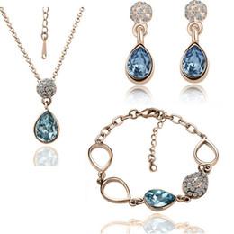 Wholesale Bracelet Imitation Jewellery - High Grade Crystal Necklace Earrings Bracelets Set Water Drop Fine Jewelry Sets For Women Best Gift african jewellery sets 1438