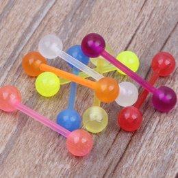 Dil barbell 100 adet / grup mix 6 renk akrilik dil siyah kızdırma dil vücut takı nereden