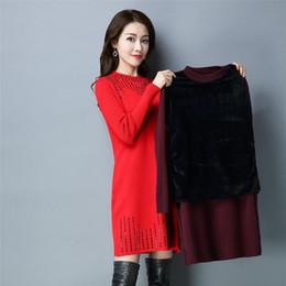 Wholesale Nylon Mature - Increase Villus Girls Long Fund Mature Temperament Diamond Knitting Dress 2017 Winter Round Neck Rendering Suit-dress