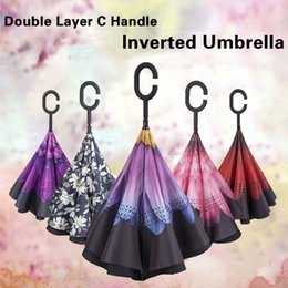 Wholesale rainy umbrella - 2018 New Design 64 Colors Windproof Reverse Umbrella Double Layer Inverted Umbrellas C Handle Umbrellas For Car YM001-YM64