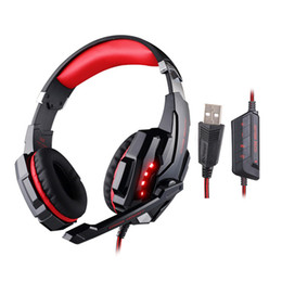 Wholesale Over Ear Headphones Microphones - Professional Gaming Headphone KOTION EACH G9000 USB 7.1 Channel Headset Auriculares Headband Over Ear with Microphone LED Light