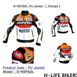 Wholesale Pu Leather Motorcycle Jacket - Fall-free shipping repsol PU MOTORCYCLE JACKET  autocycle jacket   motorcycle leather jacket