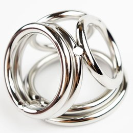 Wholesale Adult Male Cockrings - Men Stainless Steel Dick Ring Penis Delay Ejaculation 4 Holes Cockrings Lock Dildo And Scrotum Adult Male Cocks Sex Toys