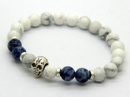 Wholesale Turquoise Skulls Bracelet - Wholesale New Beaded Mens Antique Silver and Gold Skull Yoga Bracelets,8mm Natural white Howlite stone Beads Jewelry