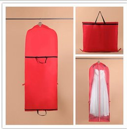 Wholesale Cheap Clothes Stock - 2016 Red Cheap Wedding Dress Bag Clothes Covers Garment Dustproof Bridal Gown Covers Evening Prom Dress Bags Free Shipping In Stock