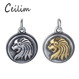 Wholesale Lion Head Necklace Wholesale - Luxury Personalized Lion Head Charm For Jewelry Making Supplies Fit DIY Stainless Steel Animal Jewelry Necklace Pendant Charm With Link Ring
