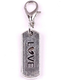 Wholesale Love Floating Charm - Wholesale 20pcs lot love tag Floating Pendant Charms with Lobster clasp Fit For Glass Magnetic Memory Locket