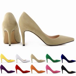 Wholesale Nude Color Wedding Shoes - Classic Sexy Pointed Toe mid High Heels Women Pumps Shoes Faux Suede Spring Brand Wedding Pumps Big Size 35-42 10 Color 952-1VE