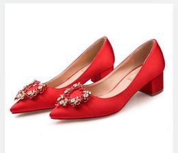 2019 spitzen spitzenschuhe Groß-und Einzelhandel 2018 luxuriöse Strass rot Satin Hochzeit Schuhe Frau flacher Mund wies Spitze Frauen Mode Schuhe High Heels 45mm rabatt spitzen spitzenschuhe