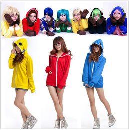 Wholesale Anime Sportswear - 6 Colors Vocaloid unisex Cosplay Matryoshka Megurine Hoodie Miku Coat Vocaloid Candy Color Jacket Sportswear