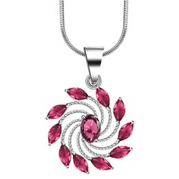 Wholesale Red Corundum - Fashion red corundum vintage flower pendant necklace Jewelry Wholesale silver plated wedding Gift For Women with snake chain