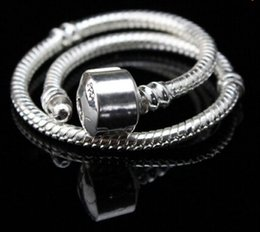 Wholesale Sterling Silver European Charms Wholesale - Lose money promotion!!2015 Fashion charm Bracelet,3MM 925 Sterling Silver Snake Chain fit European Beads Pandora style
