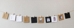 Wholesale Gallery Photos - 10pcs set Colorful Washing Line Hanging Gallery on Line Paper Photo Frames Wooden Clip Hemp Rope