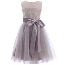 Wholesale Pretty Pictures Flowers - 2018 New Lace Tulle Pretty Grey Tutu Flower Girl Dresses Plus Size Sleeveless With Big Bow Baby Girl Infant Toddler Gown