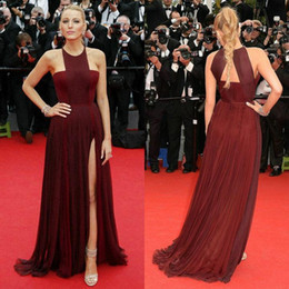 Wholesale Orange Blue Crystal Jewelry - Blake Lively in The 67th Cannes Film Festival New in Red Carpet Dark Red Chiffon Side Slit Halter jewelry Court Train Celebrity Dresses 2015