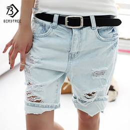 Wholesale Flying Dogs - Wholesale- Cotton Casual Plus Size 4XL 2017 Hot Women's Jeans Short Dog Embroidery Holes Ripped Pockets Knee Length Denim Shorts B7031307H