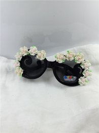 Wholesale Clay Rose Sunglasses - Wholesale-Drop free shipping NEW summer kid's round black frame white rose flower clay flower UV 400 plastic sunglasses