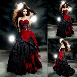 Wholesale Gothic Corset Dress Plus Size - Black And Red Gothic Wedding Dresses 2017 Vintage Court Style Sweetheart Ruffle Taffeta Floor Length Big Bow Sexy Corset Bridal Gowns