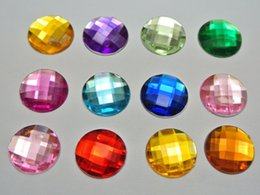 Wholesale 14mm Round Faceted - 100 Mixed Color Acrylic Flatback Rhinestone Faceted Round Gems 14mm No Hole