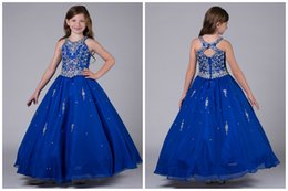 Wholesale Real Gold Cheap Prices - Real Image Blue Girls Pageant Dresses 2017 Ball Gown Shiny Beaded Crystal Top Cheap Price Crew Collar Organza Floor Length Children Dress