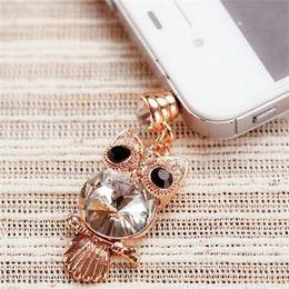 Wholesale Big Dust Plug - Wholesale-Min order is $6 (mix order ) Mobile accessories crystal rhinestone sparkling big gem beads lovely owl style dust plug