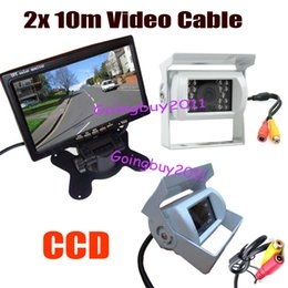 "Wholesale Lcd Video Monitor Kit - 2x White 18 LED IR CCD Reversing Camera with 2x 10M Video Cable+ 7"" LCD Monitor 12V Car Rear View Kit 10pcs lot"