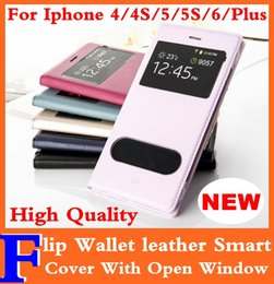 Wholesale Iphone 5s Flip Window - For Iphone 6 Plus 4.7'' 5.5'' Flip Cover Wallet Folio Leather Case with Double Open Window for Iphone 5 5S 4 4S High Quality Free Shipping