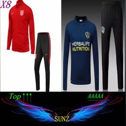 Wholesale Tracksuits Men Usa - 17 18 Club America USA Jacket Soccer Jersey Football Shirts Equipment Long Sleeve outdoor LA galaxy tracksuits jacket Uniform
