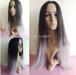 Wholesale Grey Synthetic Wigs - women wig Silk Straight Gray Synthetic Wig Glueless Ombre Tone Color Black And Grey Heat Resistant Hair Wigs FREE SHIPPING Hot
