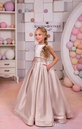 Bijou deux pièces une ligne de longueur de plancher en satin élégantes belles robes de mariée petite fille robes formelles robes de fille de fleur ? partir de fabricateur