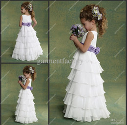 Wholesale Chiffon Wedding Dress Layers - Cheap Junior Flower Girls Dresses Chiffon White and Purple Many Layers Floor length Kids Evening Gowns Flowergirl Dresses Wedding