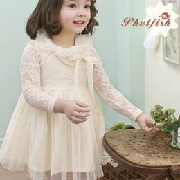 Wholesale Korean Spring Dresses For Sale - Phelfish New Design Beige Cotton lace Korean style Gauze lace dresses with peral necklace for Baby girls PH13203 hot sale 5pcs lot