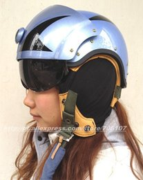 Wholesale Chinese Air Force Helmet - Wholesale-CHINESE BLUE SKELETON US AIR FORCE JET PILOT FLIGHT HELMET WITH VISOR SKULL FLYING HELEMT FREE SHIPPING