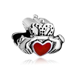Wholesale Pandora Friendship Charm - 10 pcs per lot Enamel Red Heart Irish Claddagh Friendship Metal European Bracelet Charm For Pandora Bracelet