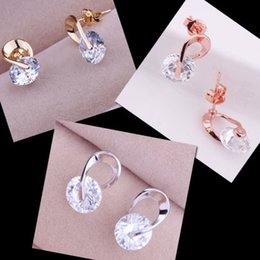 Wholesale 18k Rose Gold Earrings - Beauty White CZ Cubic Zirconia Stud Earrings Trendy Earings Christmas Gifts Platinum Rose Gold Plated 18K Fashion Jewelry