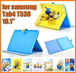 Wholesale Cute Galaxy Tablet Cases - For Super Cute! Despicable Me Precious Milk Dad Case PU Leather for samsung galaxy Tab4 T530 10.1'' tablet cover + Free Shipping