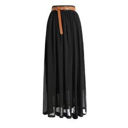 Wholesale Maxi Elastic Waist Chiffon Skirt - Summer Fashion Bohemian Double Layer Chiffon Pleated Elastic Waist long Maxi Skirt Drop Shipping