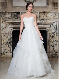 Wholesale Embellished Strapless Sweetheart Gown - Gorgeous Ball Gown Wedding Dresses Bridal Gowns Tulle wedding ball gown features strapless sweetheart neck line bodice embellished with bead