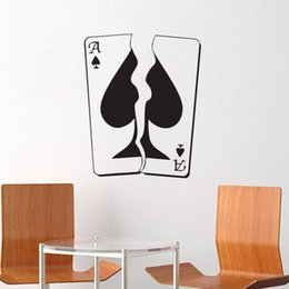 Wholesale Poker Stickers - Tearing Poker Wall Stickers Home Decor Living Room Gambling Casino Playing Cards Ace Wall Decals Vinyl