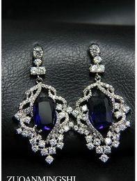 Wholesale Wedding Diamond Earings - blue*white diamond inlay crystal beads flower pearl lady's earings ( 4 5*2.1cm) (myyhmz)