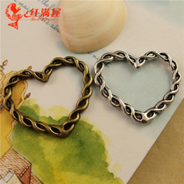 Wholesale Bronze Pendant Love - fashion vision 34x28mm Heart charms pendant antique silver Bronze Mix colors braided metal model no. sp212
