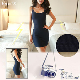 Wholesale Tight Striped Dresses - Winter Autumn Sleeveless Vest Underwear Sexy Dress short Tight Skirt Shoulder Straps Render Package Buttocks Cultivate one's morality Dress