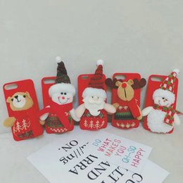 Wholesale Iphone Santa Case 3d - 3D doll Santa snowman bear plush phone case shell for iPhone8 8plus 7 7plus 6 6Splus Christmas gift