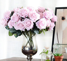 Wholesale French Tables - Artificial silk Bunch French Rose Floral Bouquet Fake Flower Arrange Table Daisy Wedding Home Decor Party accessory Flores G1068