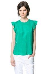 Wholesale Wholesale Tulip Tops - Vosicar Womens Casual Loose Chiffon Short Blusas Tulip Sleeve Blouse Shirt Tops TY1436